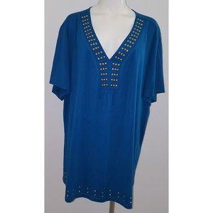 NWT Essentials Shirt Studded Neckline Blue Gold 4X